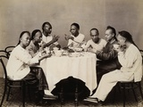 Group of Young Chinese Men Having Lunch Photographic Print