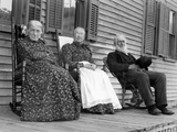 A Trio of Seniors on the Porch Watch the World Go By, Ca. 1900 Fotografiskt tryck
