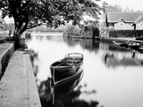 River Thames, Oxfordshire, Boat Moored on the River, Perhaps Near a Lock or Weir Photographic Print by Henry Taunt