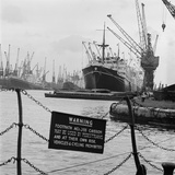 London Docks, Ships and Barges Moored at the Docks with Cranes Overhead Photographic Print by John Gay