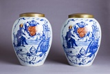 Pair of Porcelain Delft Blue and White Tobacco Jars Photographic Print