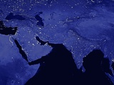 Night Time Satellite View of the Middle East and India Photographic Print