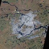 Satellite View of Eastmain Reservoir Hydroelectric Project in Northern Quebec Photographic Print