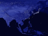 Night Time Satellite View of Asia Photographic Print