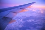 Setting Sun Hitting Airplane Wing Papier Photo