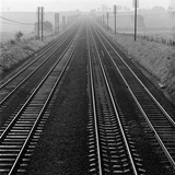 Railway Track, Hertfordshire, an Elevated View of Four Parallel Railway Tracks Photographic Print by John Gay