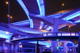Neon-Lit Highway Interchange Photographic Print