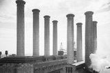 Smoke Stacks of Edison Power Plant Photographic Print