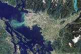 Satellite View of Vancouver, Canada and the Fraser River Delta Photographic Print