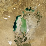 Satellite View of the Aral Sea in 2005, with the 1960 Shoreline Super-Imposed Photographic Print