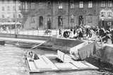 Women Washing Clothes in Canal Photographic Print