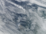 Volcano and Cloud Vortices in the South Sandwich Islands Photographic Print