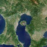 Satellite View of Sakura-Jima Volcano in Japan Photographic Print