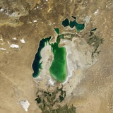Satellite View of the Aral Sea in 2003, with the 1960 Shoreline Super-Imposed Photographic Print