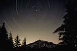 Star Trails Circle Above Mount Rainier Photographic Print