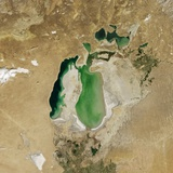 Satellite View of the Aral Sea in 2002, with the 1960 Shoreline Super-Imposed Photographic Print