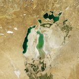 Satellite View of the Aral Sea in 2010, with the 1960 Shoreline Super-Imposed Photographic Print