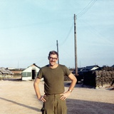 Snapshot of Us Army Soldier on Base in Vietnam, Ca. 1970 Photographic Print