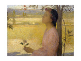 Young Woman with a Rose Reproduction procédé giclée par Henri Martin