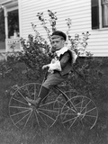 Toddler on a Period Tricycle, Ca. 1895 Photographic Print