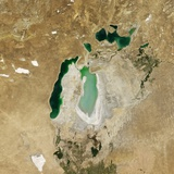 Satellite View of the Aral Sea in 2007, with the 1960 Shoreline Super-Imposed Photographic Print