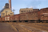 Train Freight Cars Entering Shipping Yard Photographic Print