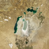 Satellite View of the Aral Sea in 2008, with the 1960 Shoreline Super-Imposed Photographic Print