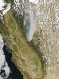 Satellite View of the Rim Fire, California Photographic Print