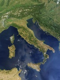 Satellite View of Italy, Sicily, Sardinia and Corsica Photographic Print