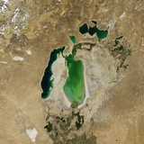 Satellite View of the Aral Sea in 2004, with the 1960 Shoreline Super-Imposed Photographic Print