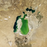 Satellite View of the Aral Sea in 2001, with the 1960 Shoreline Super-Imposed Photographic Print