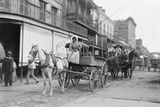 Woman Driving Horse-Drawn Wagon on Street Photographic Print