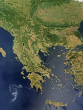 Satellite View of Greece Photographic Print