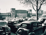 Duesseldorf: Historic Picture of the Rheinterrasse Building with Parking Cars Photographic Print