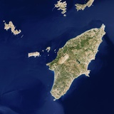 Satellite View of the Island of Rhodes Photographic Print