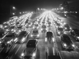 View of Traffic at Night Photographic Print