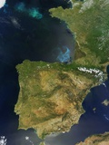 Satellite View of Spain, Portugal and the Iberian Peninsula Photographic Print