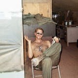 Snapshot of Vietnam War Soldier Relaxing on Base, Ca. 1970 Photographic Print