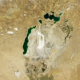 Satellite View of the Aral Sea in 2009 with the 1960 Shoreline Super-Imposed Photographic Print