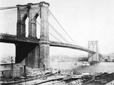 Steam Ship Passing Underneath Brooklyn Bridge Photographic Print