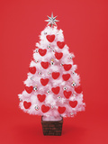 Christmas Tree Decorated with Hearts Photographic Print