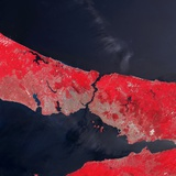 Satellite View of Istanbul, Turkey and the Bosporus Strait Photographic Print