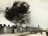 View of Smoke Coming from Damaged Building in Dublin Photographic Print