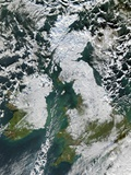 Snow Covering Most of Great Britain Photographic Print