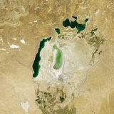 Satellite View of the Aral Sea in 2011, with the 1960 Shoreline Super-Imposed Photographic Print