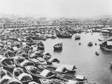 Large Collection of Boats in Singapore Harbor Photographic Print
