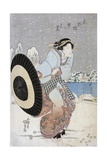 Night Snow Scene at Motonoyanagi Bridge Giclee Print by Utagawa Toyokuni