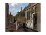 Scene in a Courtyard Giclee Print by Ludolf de Jongh
