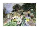 A Cottage Garden at Sunset Giclee Print by David Woodlock