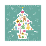 Christmas with Tree and Decorations with Green Background Giclee Print